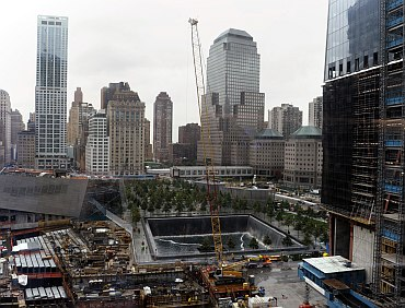 A view of the World Trade Center North Tower memorial pool