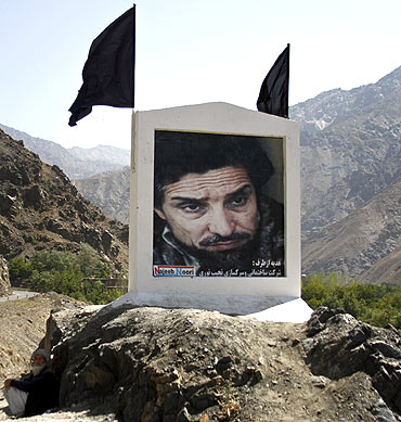 A portrait of Ahmad Shah Massoud at the entrance to Afghanistan's magnificent Panjshir Valley