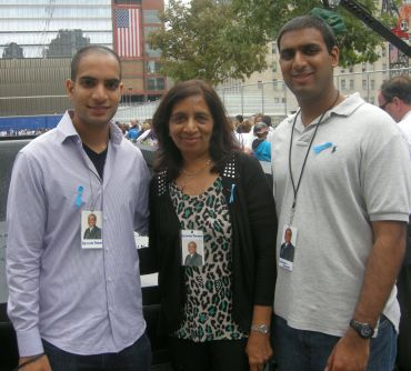 Bharti Parmar, wife of Hasmukh Parmar, with her two sons