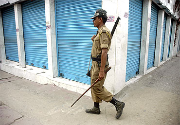 A policeman seen during a bandh called by ULFA in Guwahati