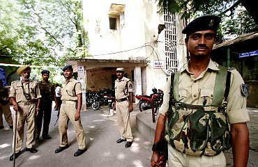 Security personnel posted at a college in Hyderabad