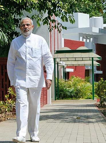 Narendra Modi at his office in Gandhinagar.