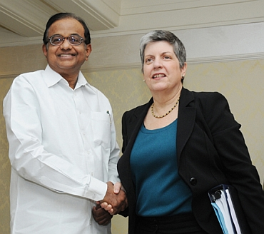 Home Minister P Chidambaram with US Secretary of Homeland Security Janet Napolitano
