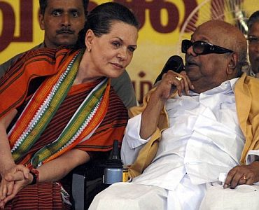 File picture of Karunanidhi with Congress chief Sonia Gandhi at a function in Chennai