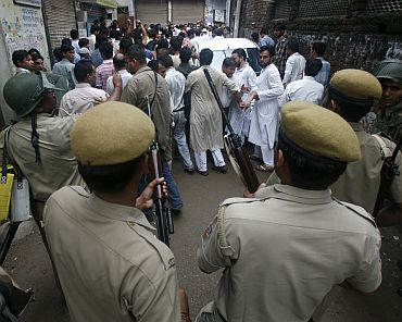 Police secure the Batla House encounter site in New Delhi