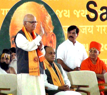 Gujarat CM Narendra Modi with BJP leader L K Advani