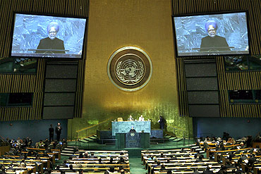 Prime Minister Manmohan Singh addressing the 63rd UNGA session on September 26, 2008, his last till date