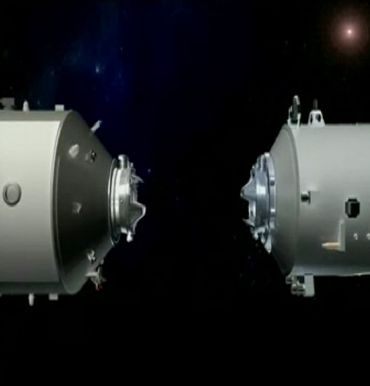 A 3D animation of the working process of China's Tiangong-1 space module is shown in this still image taken from video released September 28