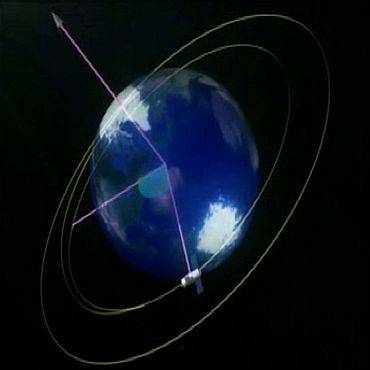 A 3D animation of China's Tiangong-1 orbiting the Earth is shown in this still image taken from video released September 28