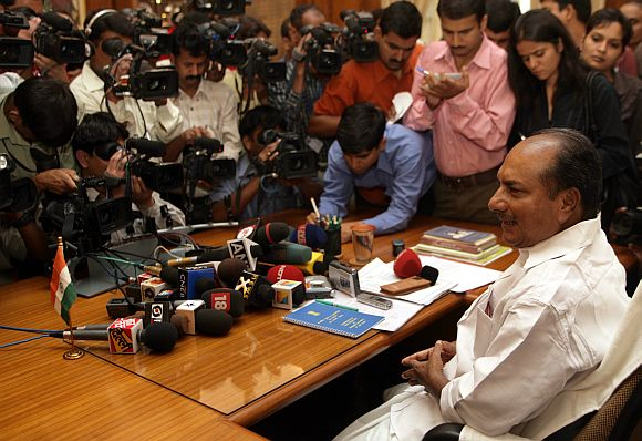File picture of Defence Minister A K Antony speaking to mediapersons in New Delhi