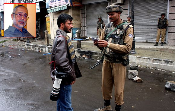 A soldier on duty in Srinagar. (Inset ) Maj-Gen Sudhir Vombatkere (Retd)