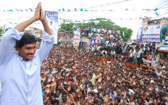 YSR Congress chief Jaganmohan Reddy greets people as part of his Odarpu Yatra. The Kadapa MP has provided financial help to the families of some of the people who committed suicide following the sudden death of his father YSR Reddy.