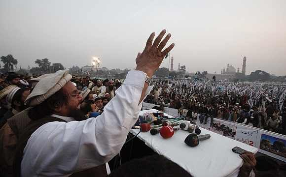 File image of Hafiz Saeed addressing a rally in Karachi