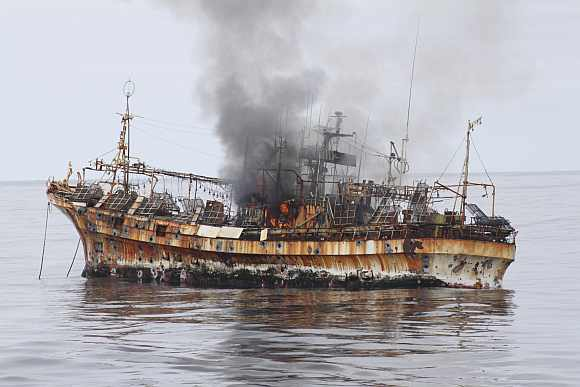 Japanese fishing vessel, Ryou-Un Maru, shows significant signs of damage after US coast guard cutter Anancapa fired explosive ammunition into it, about 290 km west of the Southeast Alaskan coast on April 5