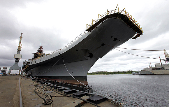The Admiral Gorshkov, a Soviet-era aircraft carrier that was bought by India