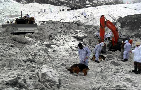 Rescue efforts underway to locate soilders buried in an avalanche at the Siachen Glacier