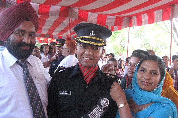 Lieutenant Navdeep Singh with his parents at his Passing Out Parade
