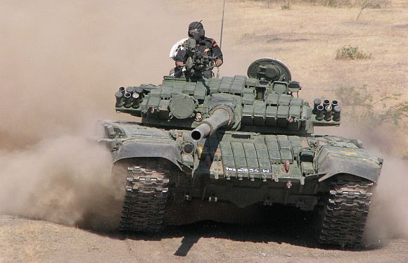 The T-72 tank is equipped with the 125 mm main gun