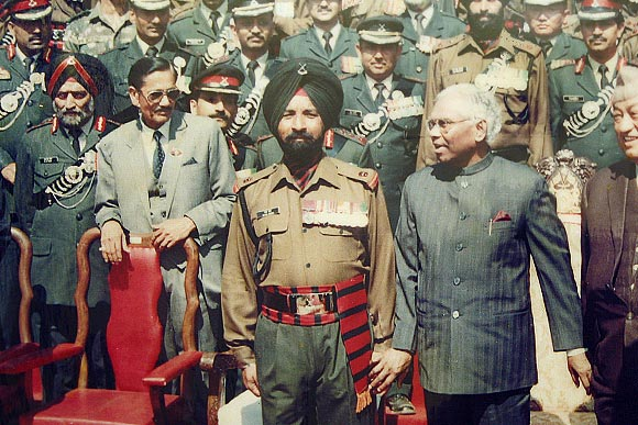 PVC Bana Singh at a function with then President K R Narayanan