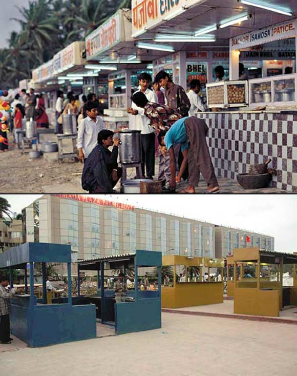 (Above) Stalls such as these lined the sandy beach. Many of these were illegal. (Below) After the restoration, the hawkers were given separate space, their stalls legalised