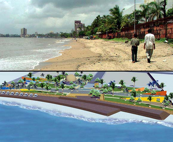 (Above) The Dadar-Prabhadevi beach where a beach nourishment plan is underway. (Below) The beach as it could look after the completion of the nourishment plant