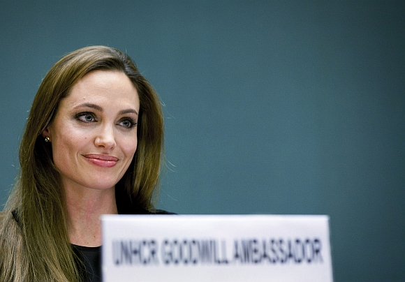 Angelina Jolie speaks during an annual meeting of UNHCR's governing executive committee in Geneva