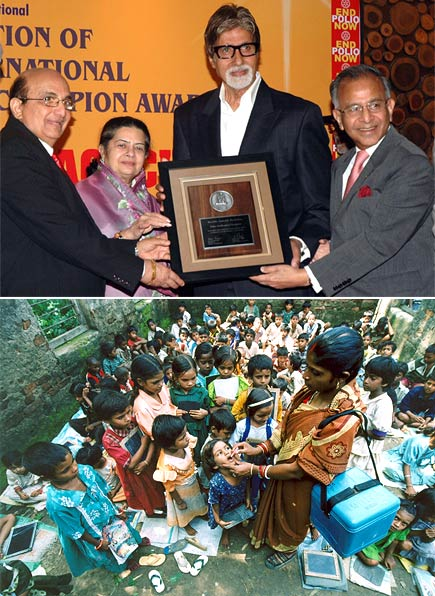 (above) Amitabh Bachchan receiving the Polio Eradication Champion award; (below) A child is given polio drops by a female volunteer as other children await their turn.