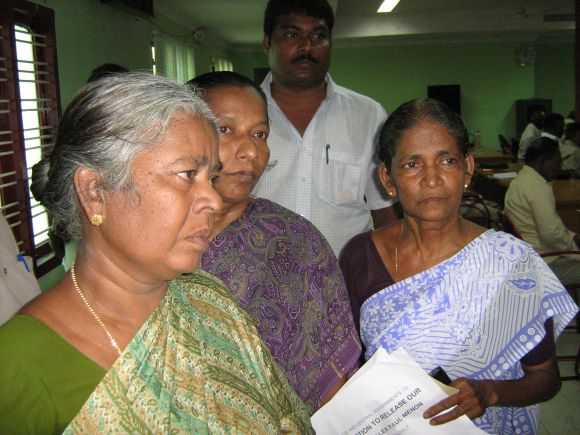Relatives of Alex Paul Thomas seen at the Tirunelveli collectorate office
