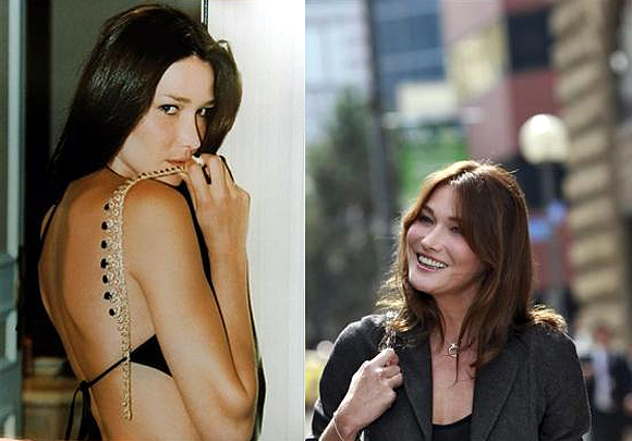 Italian model Carla Bruni (L); France's first lady Carla Bruni-Sarkozy now.