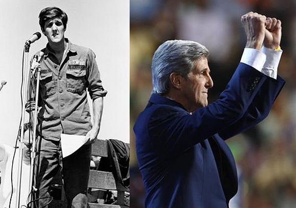 John Kerry in 1970 (L); U S Senator John Kerry now.
