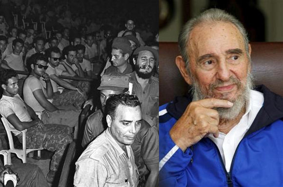 Cuban President Fidel Castro (3rd row, R) in 1961; Former Cuban leader Fidel Castro now