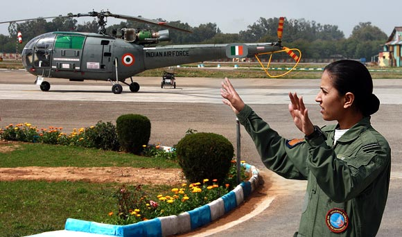 Flying Officer Anupam Chowdhry flies the Cheetah and Chetak helicopters