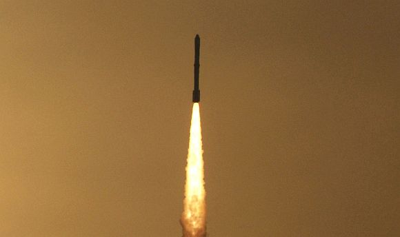 The PSLV C-18 blasts off with the Radar Imaging Satellite