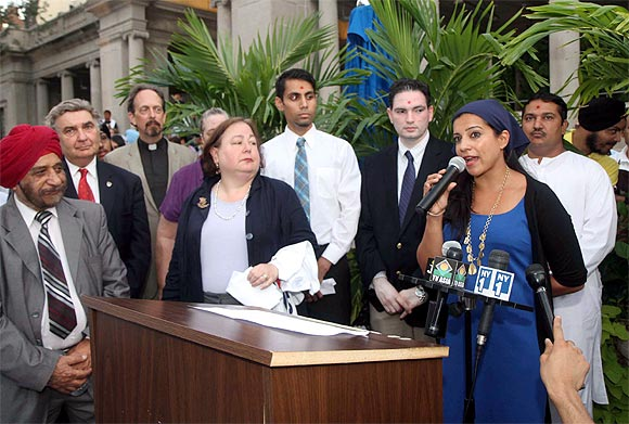 Reshma Saujani, one of the first Indian American women running for Congress, addresses mourners in New York
