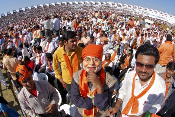 A supporter of the BJP at the swearing in ceremony of Gujarat Chief Minister Narendra Modi