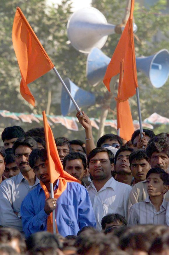 BJP supporters at a public rally in Gujarat