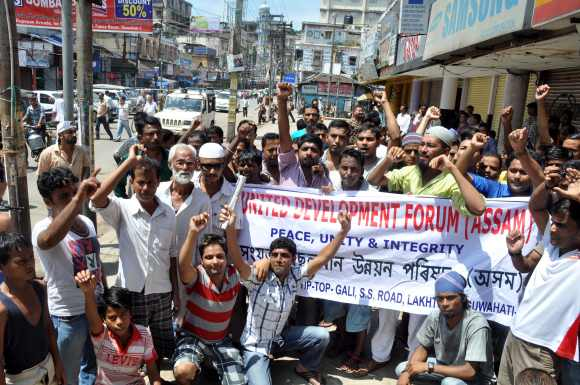 The United Development Forum of Assam protests against the violence in the state