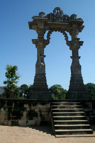 The Kirti Toran (Victory gate) on the western shore of Lake Sharmishtha