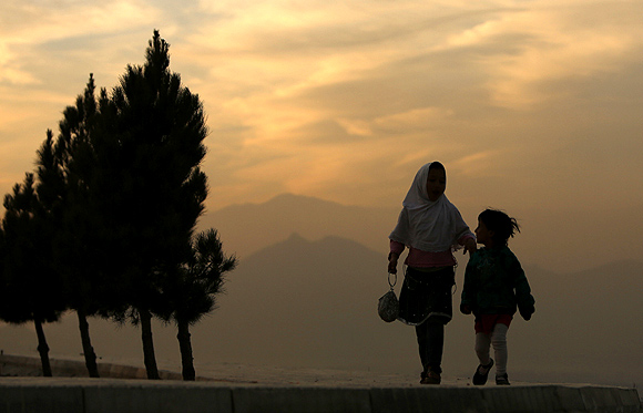 The sun sets in Kabul, December 9, 2012.