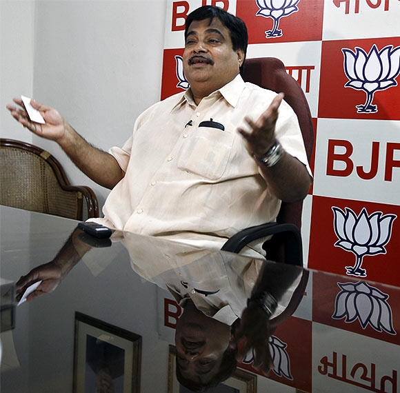 Nitin Gadkari, president of India's main opposition Bharatiya Janata Party, speaks during an interview with Reuters at his party office in New Delhi