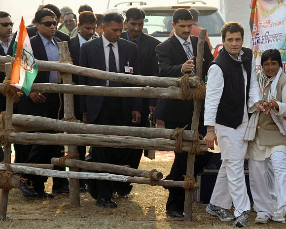 Congress General Secretary Rahul Gandhi arrives to address a campaign rally in Gorakhpur, UP