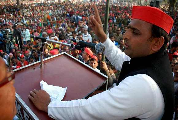 Akhilesh Yadav addresses a rally in UP