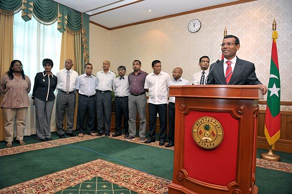 Then Maldives President Mohamed Nasheed announcing his resignation, February 2012.