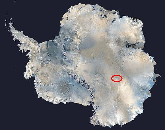 Circled in red: Russia's Vostok station in Antarctica