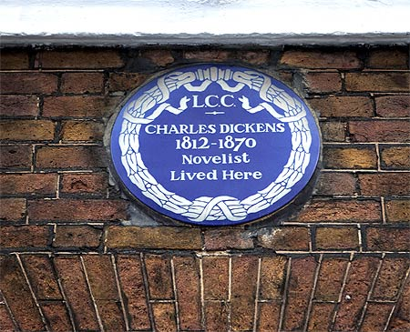 A plaque marks the principal home of Charles Dickens in London