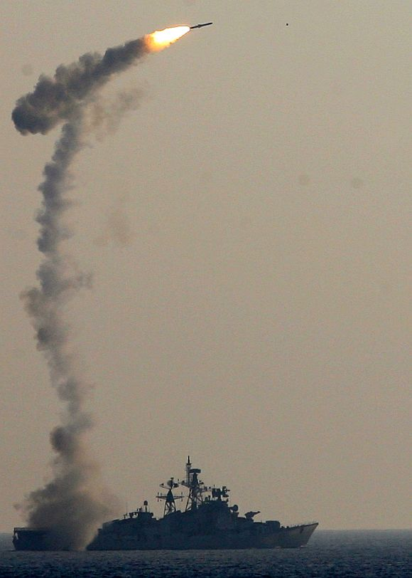 The supersonic Brahmos missile takes its signature trajectory as it is launched from an upgraded Ranvir class ship