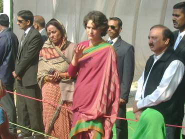Priyanka Gandhi with Kishorilal Sharma, an associate of the Gandhi family, and Ameeta Singh, candidate from Amethi assembly constituency