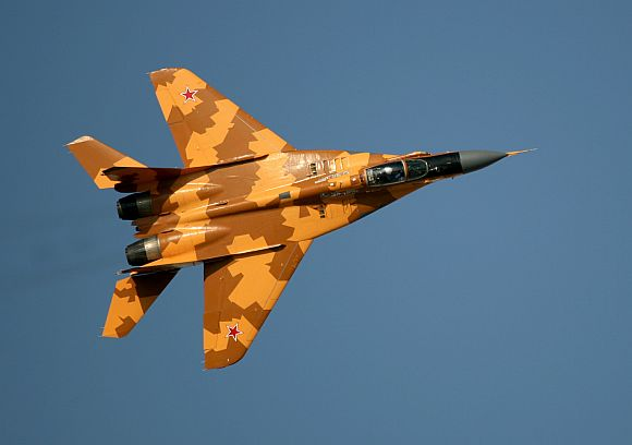 A Russian MIG 29 flies at the Dubai Air show