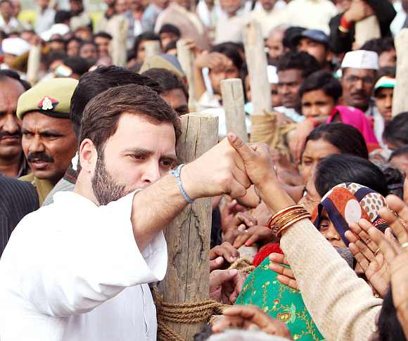 Rahul interacts with his supporters after a election rally in Rae Bareli