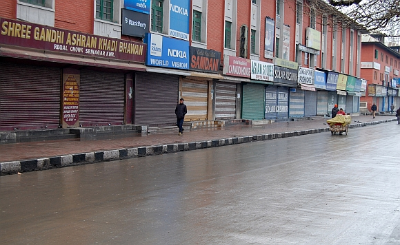 Srinagar during a curfew